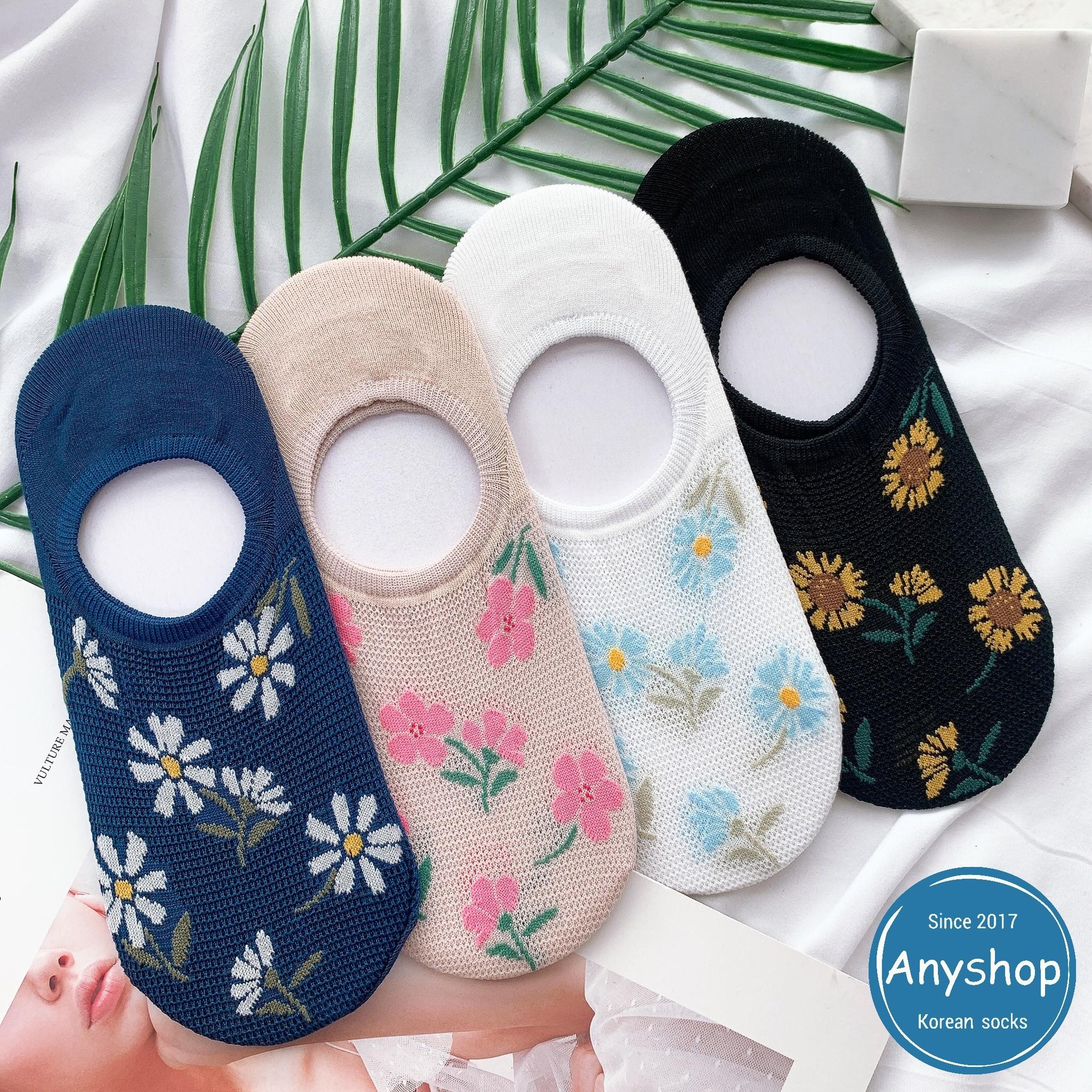 韓國襪-[Anyshop]繽紛花朵透膚船型襪