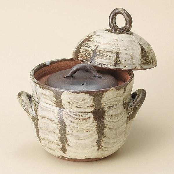 日本陶鍋 萬古燒 唐津刷毛目2合炊飯鍋 土鍋 砂鍋 日本製陶瓷