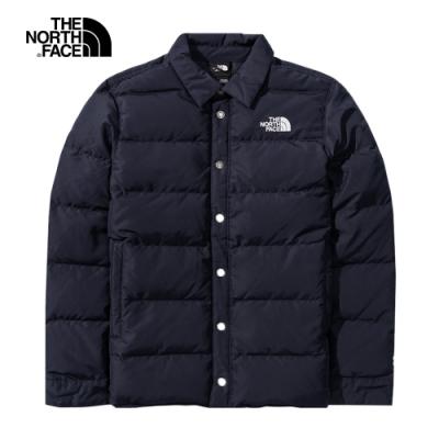 The North Face北面男款藍色防風防潑水羽絨外套 4NBJRG1