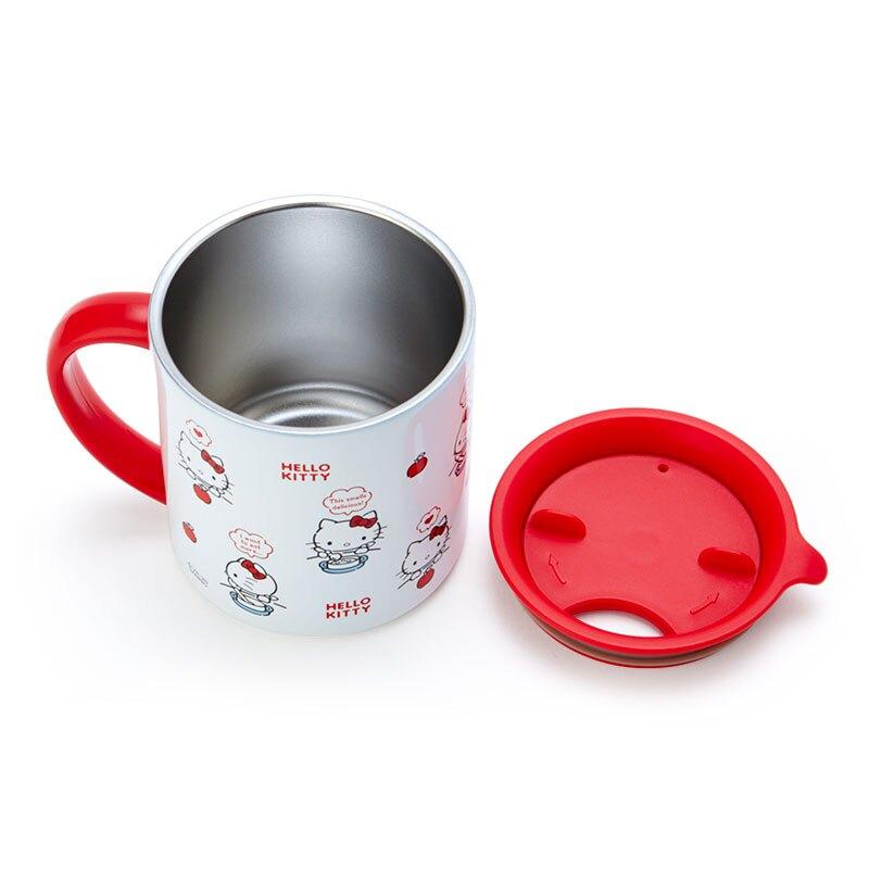 小禮堂 Hello Kitty 單耳不鏽鋼杯 附蓋 保溫馬克杯 咖啡杯 保溫杯 300ml (紅白 滿版)