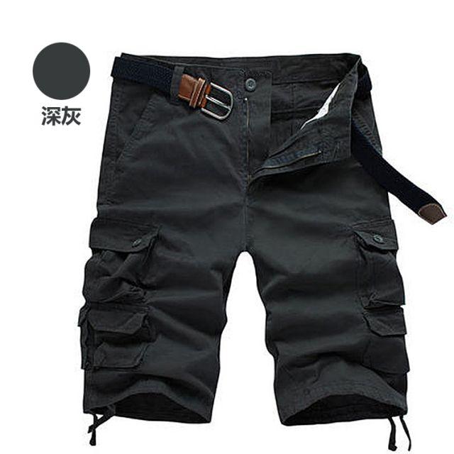 M.G. 美式棉質多口袋工作短褲-深灰色