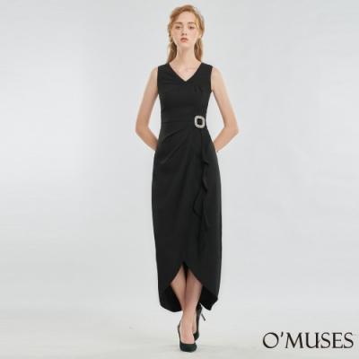 OMUSES V領壓褶前短後長禮服