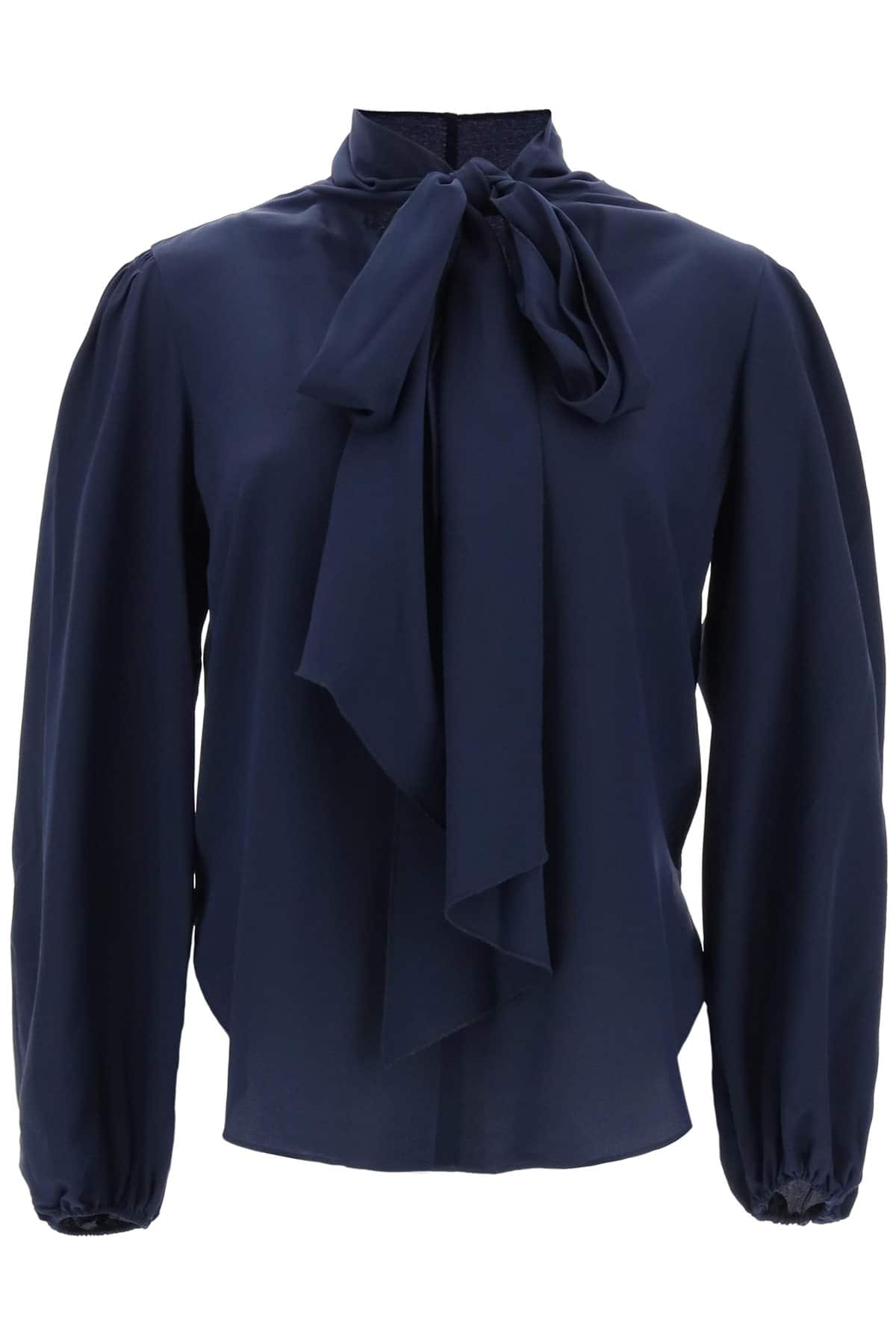 SEE BY CHLOE BLOUSE WITH LAVALLIERE 36 Blue Silk