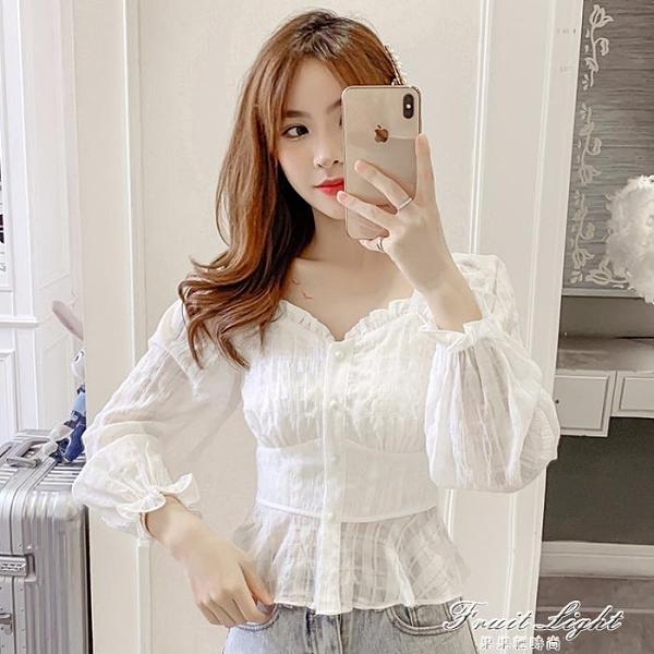 雪紡襯衫女長袖2020早秋新款甜美泡泡袖收腰顯瘦短款法式方領上衣 果果輕時尚
