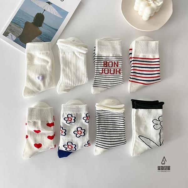 4雙裝 中筒襪潮可愛日系素色長筒襪女【愛物及屋】