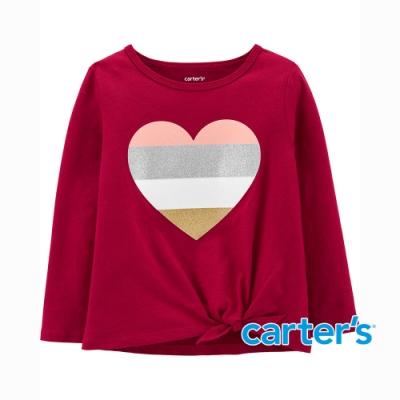 【Carter s】撞色心型扭結長袖上衣(2T-5T) (台灣總代理)