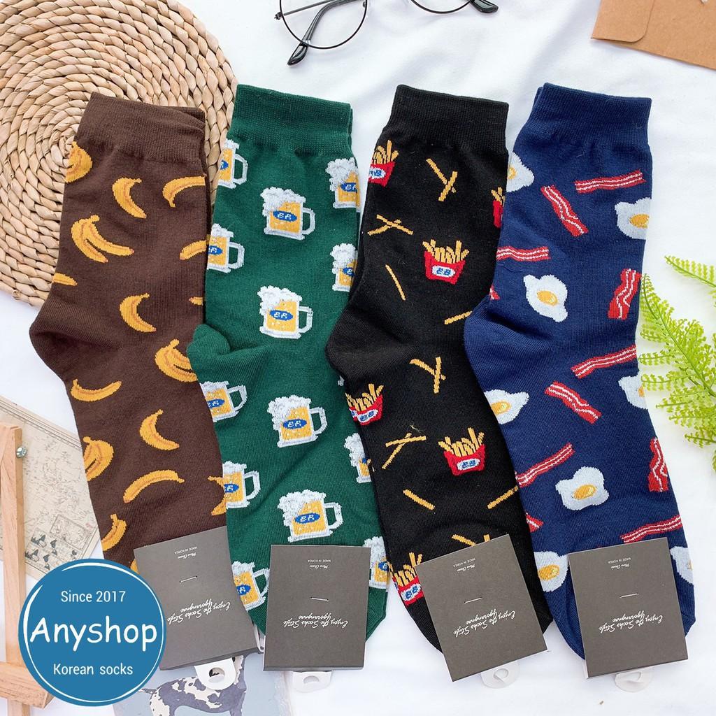 韓國襪-[Anyshop]滿版食物男士中筒襪