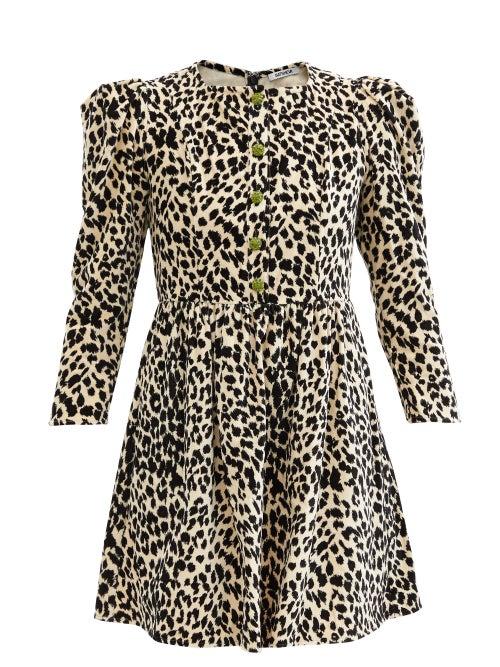Batsheva - Crystal-button Leopard-print Velvet Mini Dress - Womens - Animal