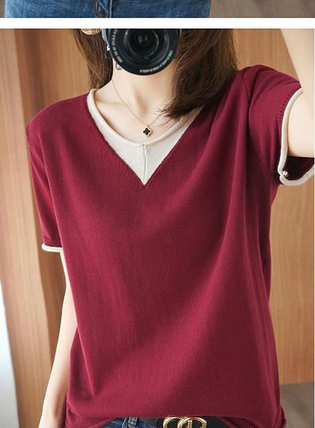 N400# 棉麻韓版針織短袖女v領寬鬆顯瘦T恤夏秋半袖衫純色打底衫 &小咪的店&