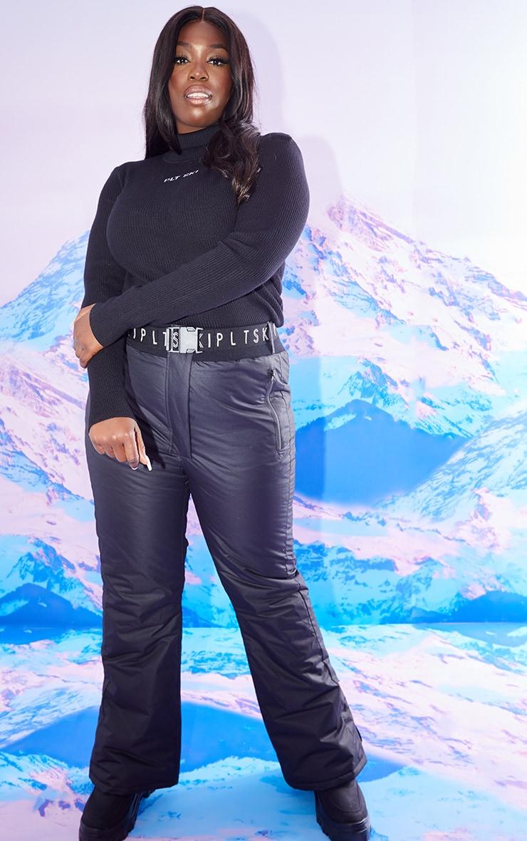 PRETTYLITTLETHING Plus Ski Black Fit and Flare Ski Pants