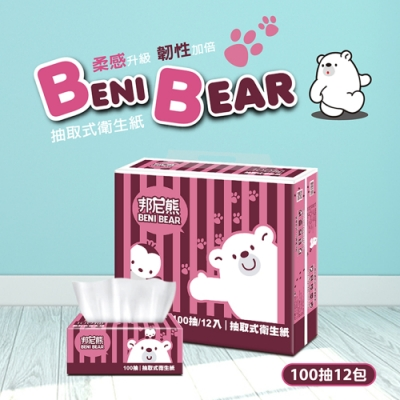 BeniBear邦尼熊復古酒紅條紋抽取式衛生紙100抽12包6袋