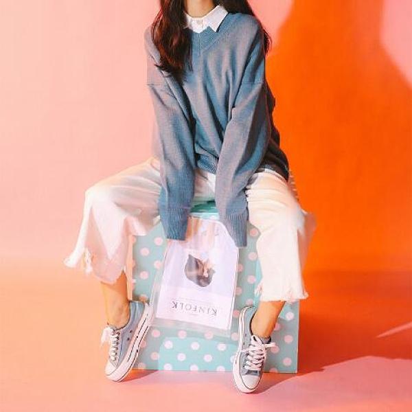 人本帆布鞋女厚底布鞋鬆糕跟小白鞋牛仔休閒鞋女百搭學生1992鞋子