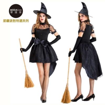 摩達客 萬聖派對變裝 性感魔女巫婆俏麗變裝短群禮服洋裝