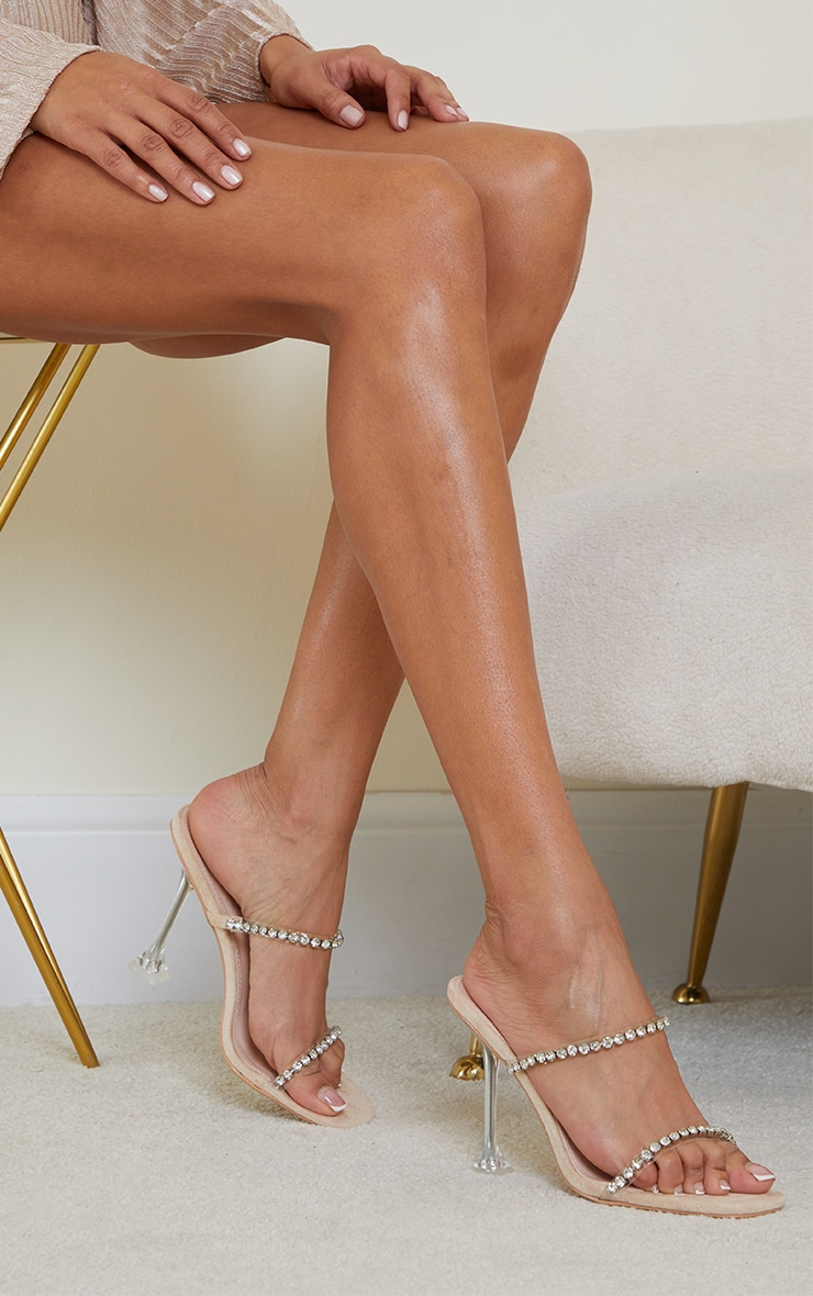 Nude High Cake Stand Jewel Embellished Twin Strap Mules