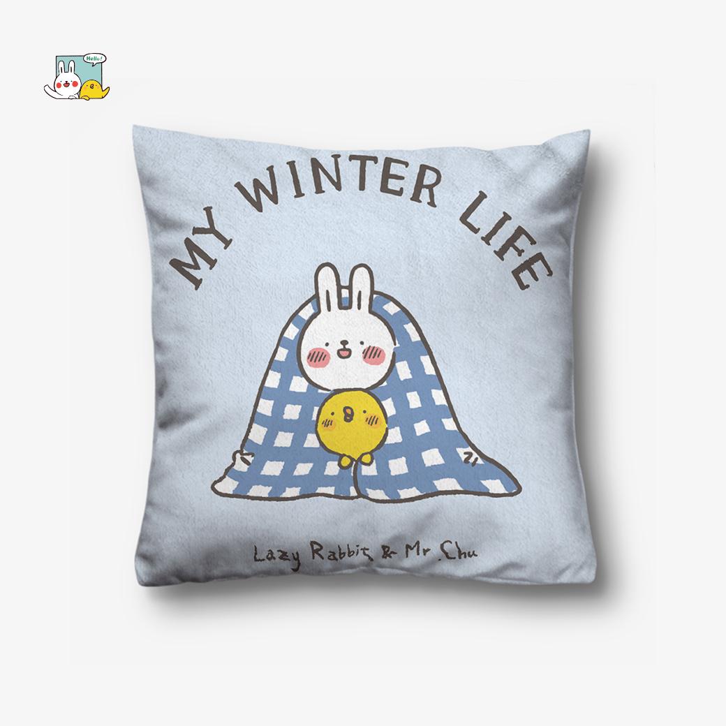 懶散兔與啾先生_冬日生活抱枕