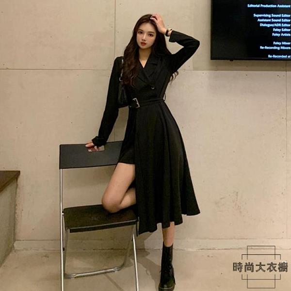 西裝連身裙性感長裙長袖黑裙收腰顯瘦裙子女【時尚大衣櫥】