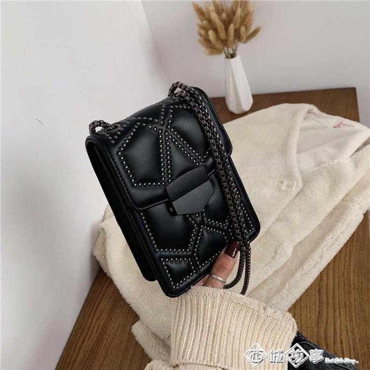 法國小眾包包女2019流行新款潮韓版百搭復古鉚釘斜背包時尚手機包