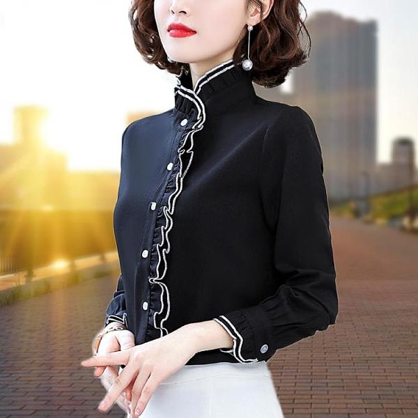 加絨襯衫女長袖2020年秋冬裝新款保暖加厚打底衫雪紡女士上衣襯衣 雙十一全館免運