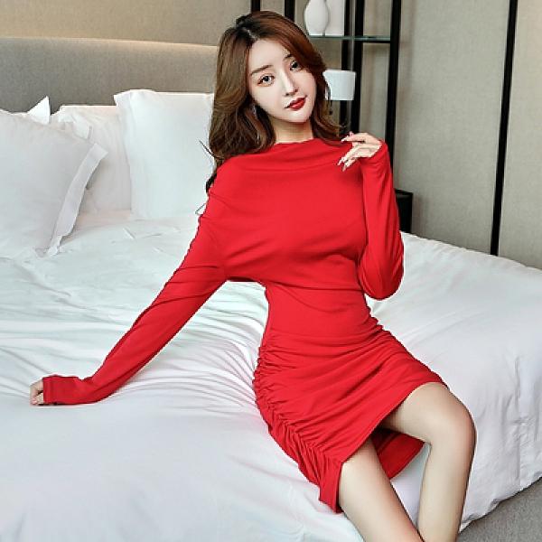性感夜店洋裝 9056#短裙修身氣質長袖包臀顯瘦有女人味的連身裙T550A快時尚