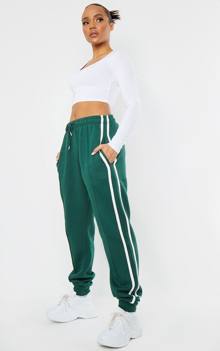 Forest Green Double Side Stripe Track Pants
