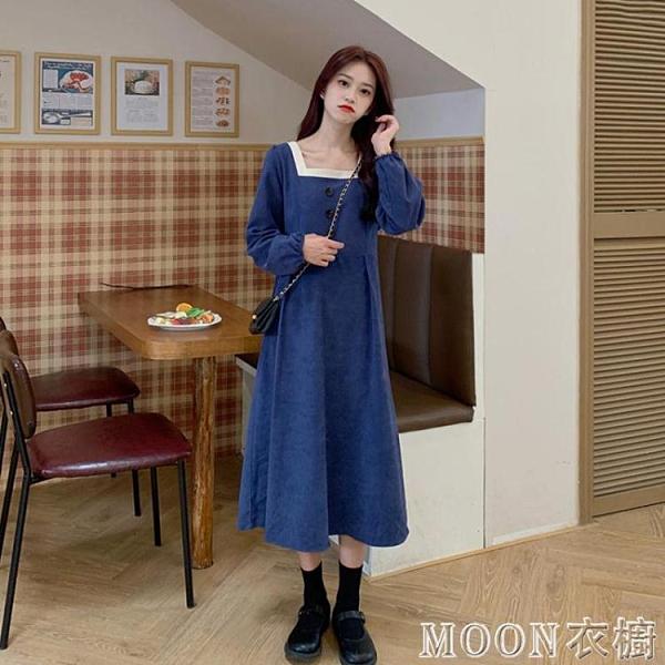 長袖洋裝復古燈芯絨長袖洋裝女秋季年新款法式方領顯瘦氣質秋冬裙子快速出貨