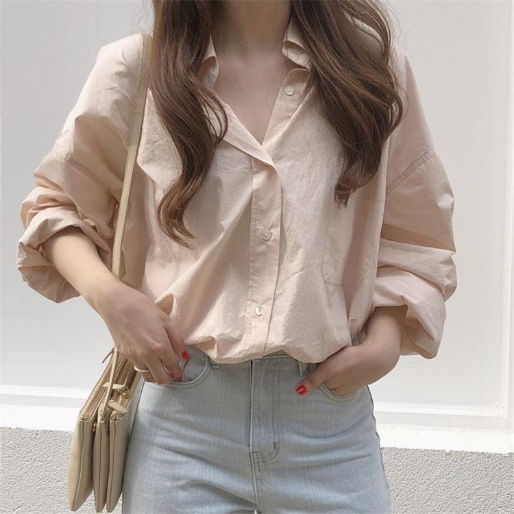 長袖襯衫 153258韓版寬鬆簡約百搭通勤款素色長袖襯衫