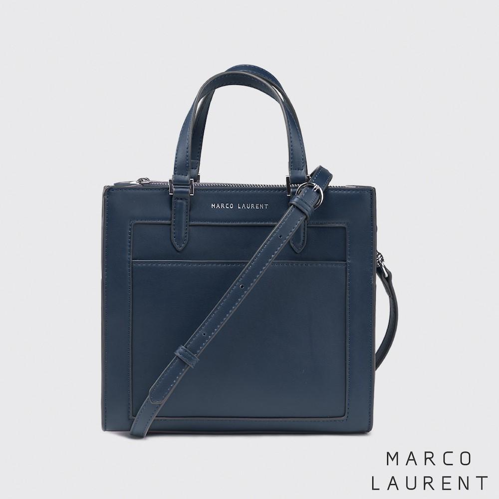MARCO LAURENT - Frame 造型拉鍊手提肩背包 - 深藍
