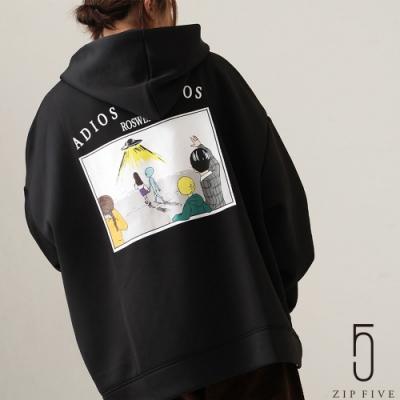 ZIP日本男裝 雙羅紋針織插畫印刷連帽TEE (6色)