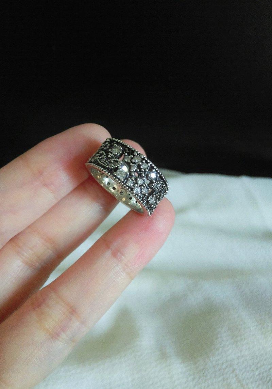 西洋古董 古典鏤空花葉純銀戒指 鋯石 切面寶石 近現代珠寶飾品