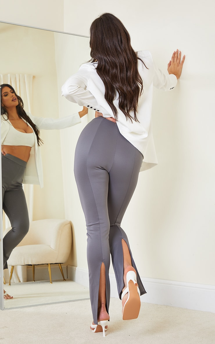 Tall Grey Back Split Hem Pants
