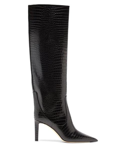 Jimmy Choo - Mavis 85 Point-toe Crocodile-effect Knee Boots - Womens - Black
