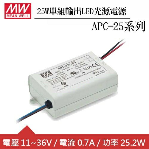 MW明緯 APC-25-700 單組0.7A輸出LED光源電源供應器(25W)