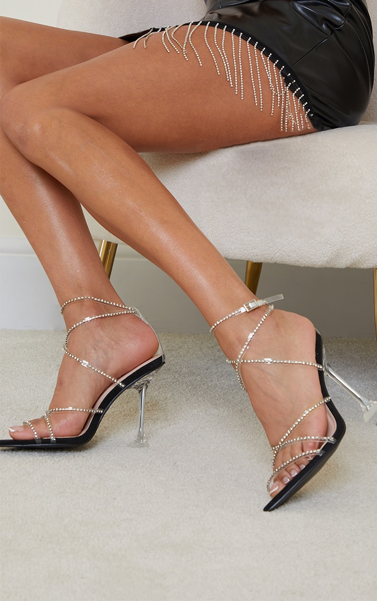 Black Clear Diamante Strappy Detail Pointed Toe Cake Stand High Heels