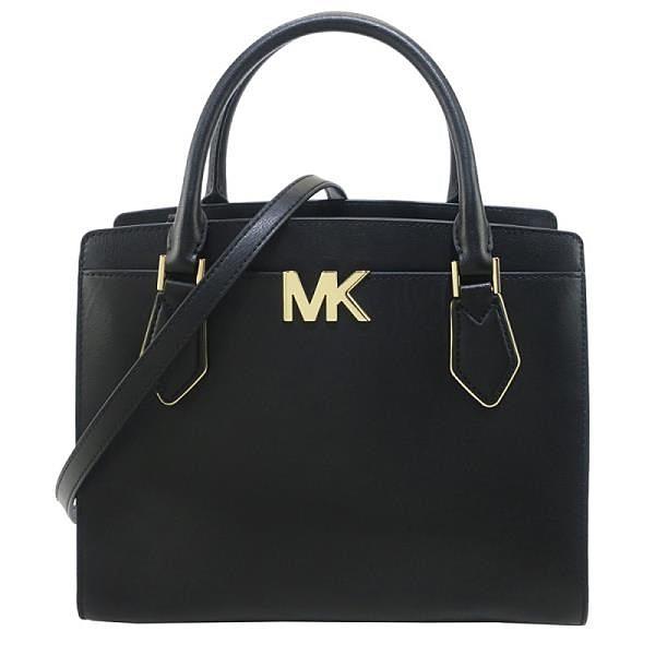 【南紡購物中心】MICHAEL KORS MOTT三層手提斜背兩用包-大/黑