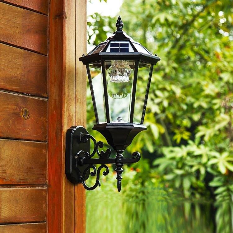 太陽能燈 戶外庭院燈超亮牆上門燈家用室外路燈防水別墅歐式壁燈