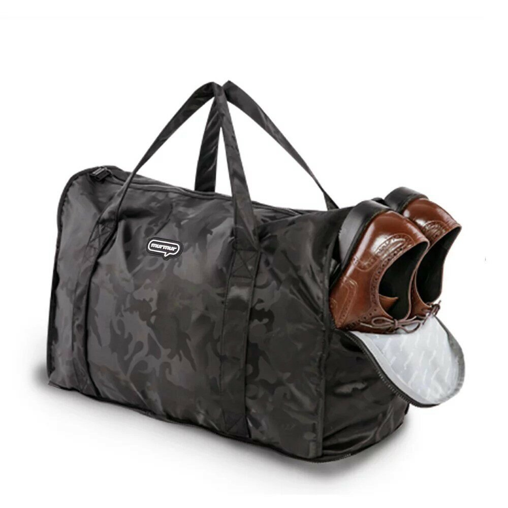 murmur 迷彩黑 旅行收納袋 摺疊旅行袋 側背包 可插拉桿旅行袋 購物袋(中型|完美尺寸)
