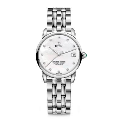 TITONI瑞士梅花錶 大師系列11顆真鑽天文台認證機械女錶(23188 S-602)-珍珠母貝錶盤x不鏽鋼鍊帶/34mm