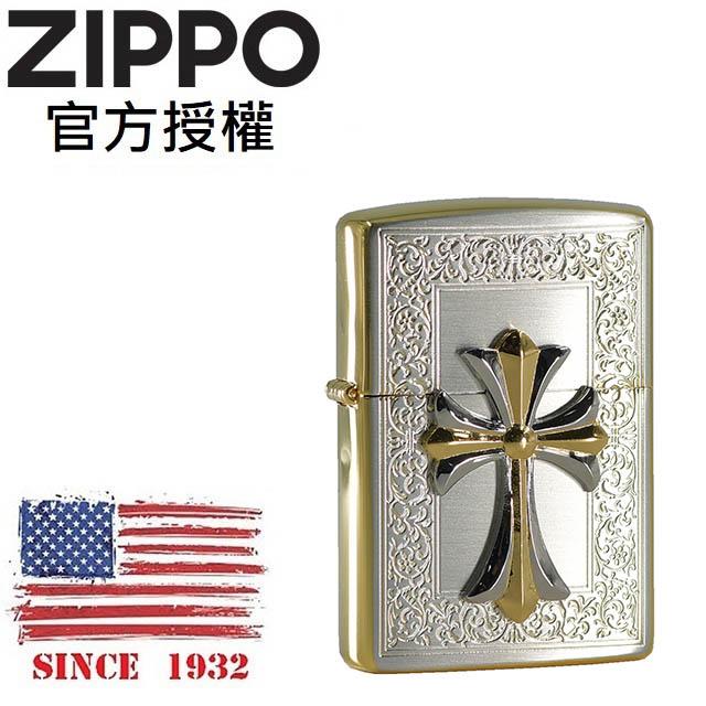 ZIPPO Cross combination 6 花紋雙色十字架防風打火機