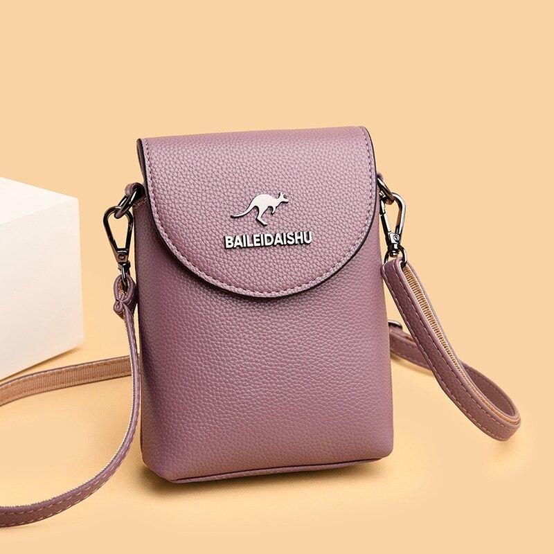 袋鼠真皮迷你斜背手機包2020新款夏季小包包零錢鑰匙包時尚側背包 微愛家居
