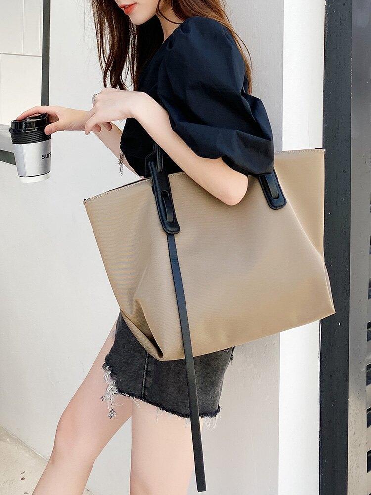 帆布側背大包包女2020年新款潮韓版牛津布大容量簡約托特包購物袋 微愛家居