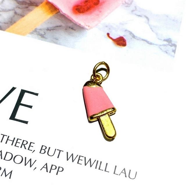 【Eli Jewelry】彌月寶寶滿月禮 粉紅琺瑯小冰棒黃金墜頭 墜子 吊墜
