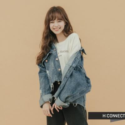 H:CONNECT 韓國品牌 女裝-破損造型牛仔外套-藍(快)