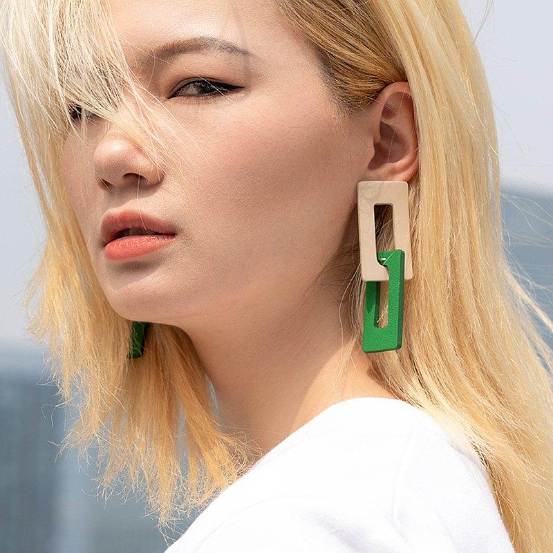 消失的樓宇系列撞色環扣皮革耳釘 幾何中長款設計感耳環