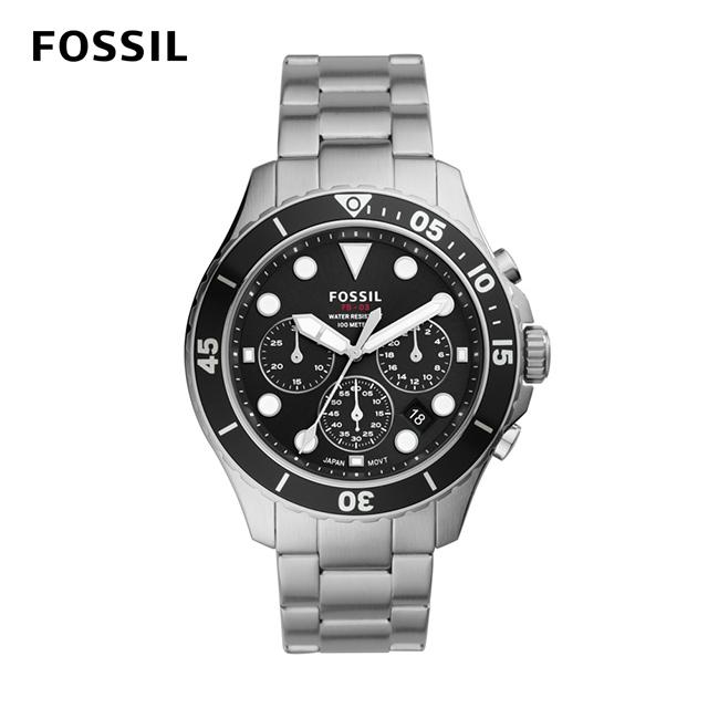【FOSSIL】FB - 03 三眼計時黑鏡潛水男錶  銀色不鏽鋼錶帶 46MM FS5725