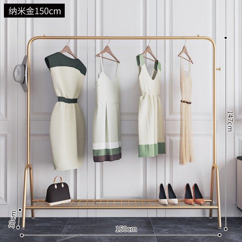 鐵藝掛衣架 輕奢晾衣架落地折疊室內曬衣架陽臺臥室掛衣架家用簡易涼衣單桿式『J7564』