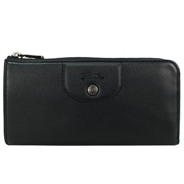 【南紡購物中心】LONGCHAMP  Le Pliage Cuir系列小羊皮L型黑扣拉鍊長夾(黑)