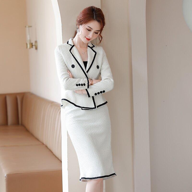 西裝套裝外套+短裙(兩件套)-毛呢小香風魚尾裙氣質女西服2色73yz1【獨家進口】【米蘭精品】