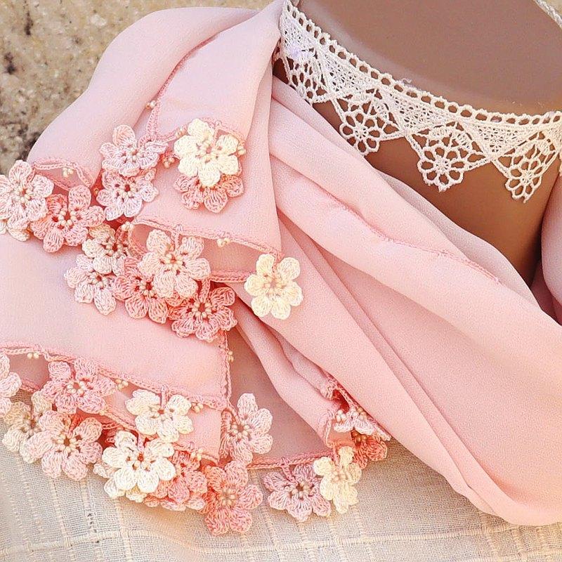 蕾絲花朵雪紡檔-瑪麗粉紅色珊瑚