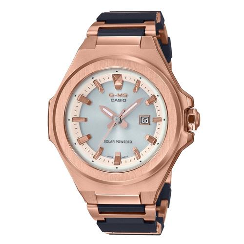 【CASIO】BABY-G 金屬感輕量化太陽能街頭休閒腕錶MSG-S500CG-1A(玫瑰金X黑)