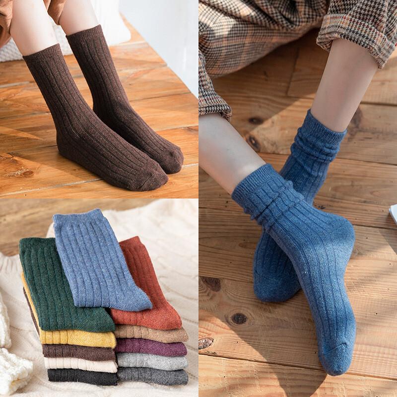 秋冬百搭復古純色坑條紋羊毛堆堆襪一組5雙m1421alex shop